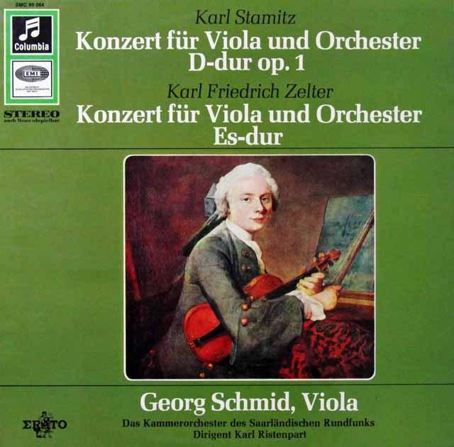 シュミット&リステンパルトのシュターミッツ&ツェルター/ヴィオラ協奏曲集 独Columbia 3298 LP レコード