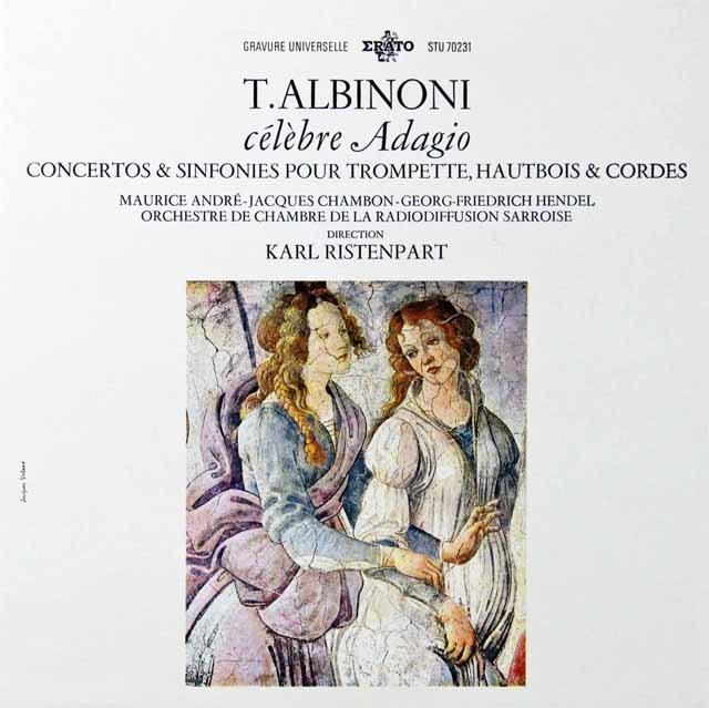 リステンパルト&アンドレらのアルビノーニ/「アダージョ」&トランペット協奏曲ほか 仏ERATO 3298 LP レコード