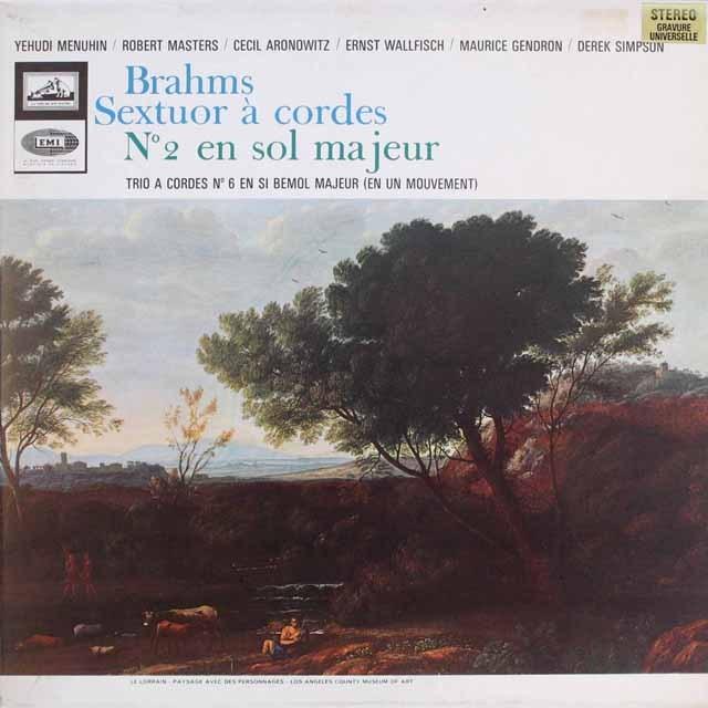 メニューインらのブラームス/弦楽六重奏曲第2番 仏EMI(VSM)  3310 LP レコード