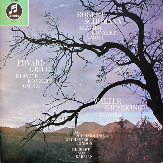 ギーゼキング&カラヤンのシューマン&グリーグ/ピアノ協奏曲 独columbia 3314 LP レコード