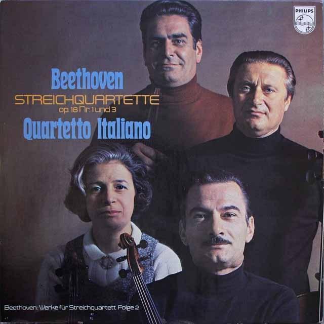 イタリア四重奏団のベートーヴェン/弦楽四重奏曲第1&3番  蘭PHILIPS   2542 LP レコード