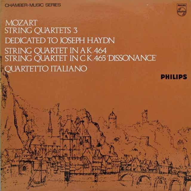 イタリア四重奏団のモーツァルト/弦楽四重奏曲第18&19番「不協和音」 英PHILIPS 英PHILIPS 2544 LP レコード