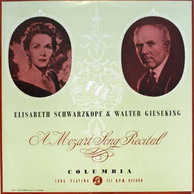 シュヴァルツコップ&ギーゼキングのモーツァルト歌曲集  英COLUMBIA   2608 LP レコード