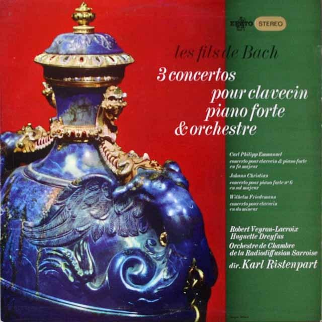 リステンパルト&ラクロアのバッハ家の協奏曲集   仏ERATO  2615 LP レコード