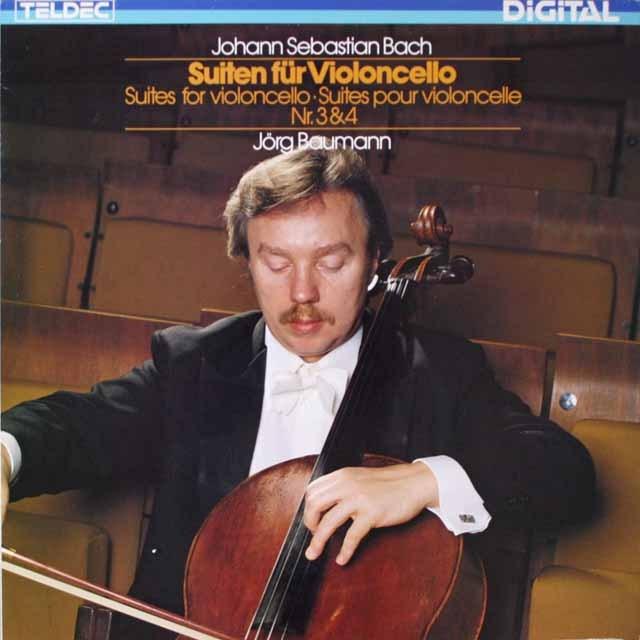 イェルク・バウマンのバッハ/無伴奏チェロ組曲第3番&第4番 独TELDEC 2602 LP レコード