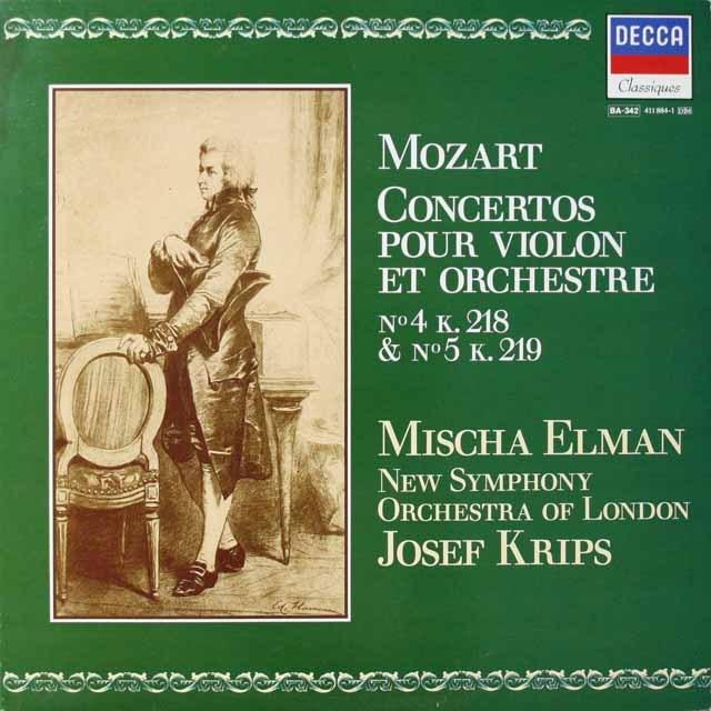 エルマン&クリップスのモーツァルト/ヴァイオリン協奏曲第4&5番 仏DECCA モノラル 2605 LP レコード