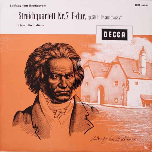 イタリア四重奏団のベートーヴェン/弦楽四重奏曲第7番「ラズモフスキー第1番」 独DECCA  2625 LP レコード