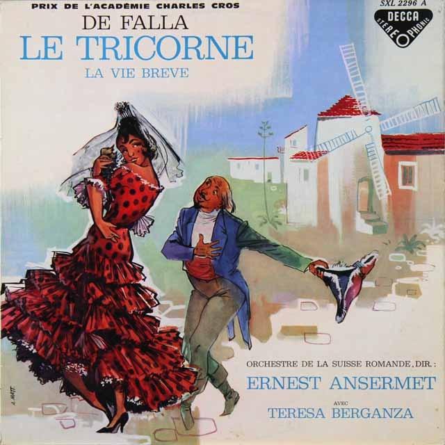 ベルガンサ&アンセルメのファリャ/「三角帽子」&「はかなき人生」 仏DECCA 2728 LP レコード
