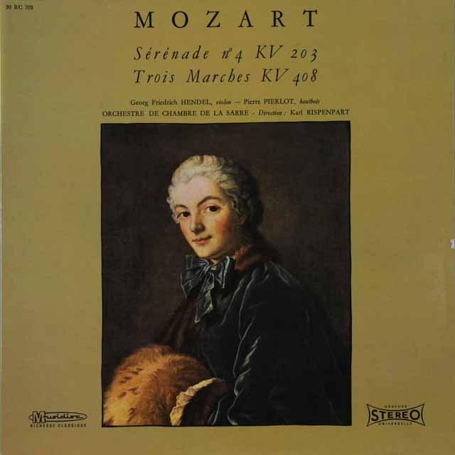 リステンパルトのモーツァルト/セレナード第4番ほか 仏Musidisc 2729 LP レコード