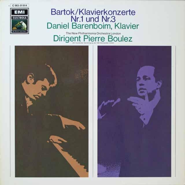 バレンボイム&ブーレーズのバルトーク/ピアノ協奏曲第1&3番 独EMI 3328 LP レコード
