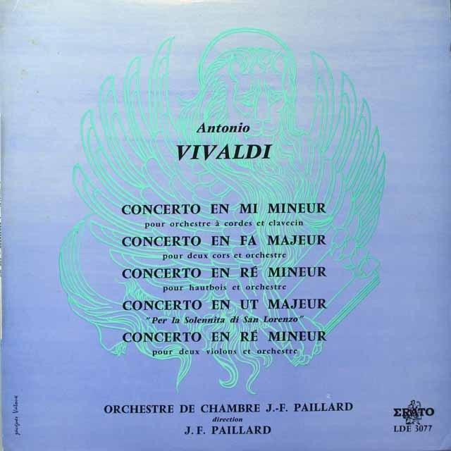 パイヤールのヴィヴァルディ/協奏曲「聖ロレンツォの祝日のために」ほか 仏ERATO モノラル 3329 LP レコード