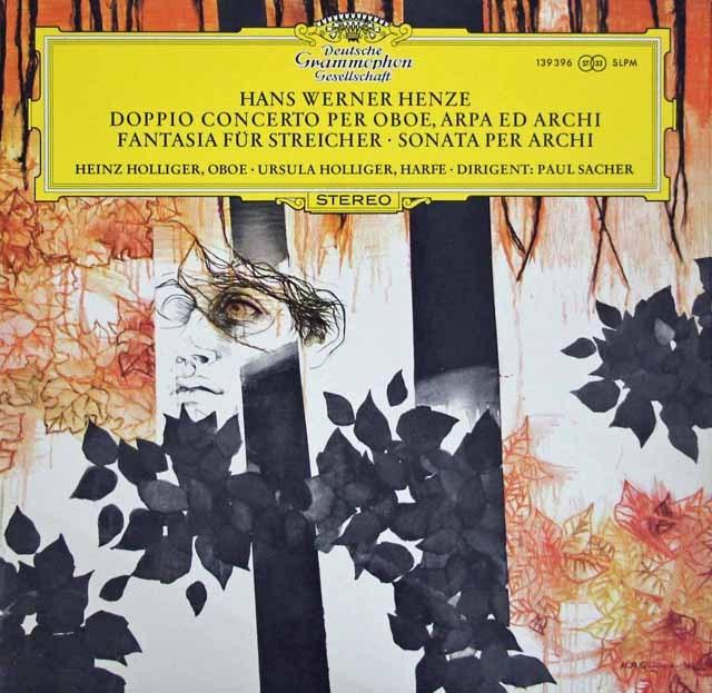 ホリガー夫妻&ザッハーのヘンツェ/オーボエ、ハープと弦楽のための二重協奏曲ほか 独DGG  3286 LP レコード