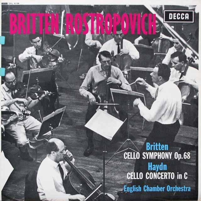 ロストロポーヴィッチ、ブリテンのブリテン、ハイドン/チェロ協奏曲集 英DECCA 3329 LP レコード