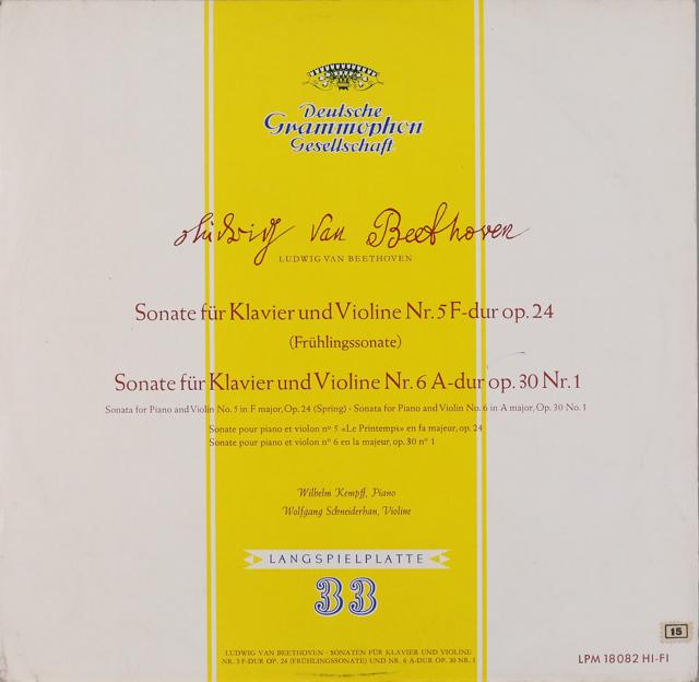ケンプ&シュナイダーハンのベートーヴェン/ヴァイオリンソナタ第5番「春」&第6番 独DGG 3226 LP レコード