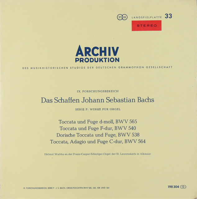 ヴァルヒャのバッハ/トッカータとフーガ 独ARCHIV 3288 LP レコード