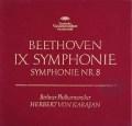【赤ステレオ】カラヤンのベートーヴェン/交響曲第8&9番「合唱付き」 独DGG 3012 LP レコード