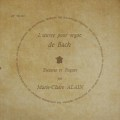 マリー=クレール・アランのバッハ/「トッカータとフーガ」集  仏DF 3020 LP レコード