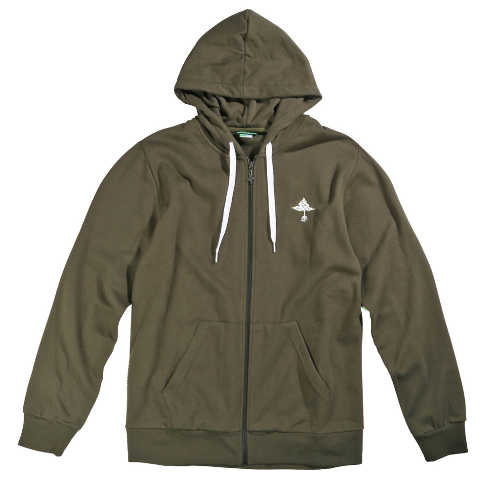 "SET-IN STRIPE ZIP HOODED FLEECE ""ROSIN"""