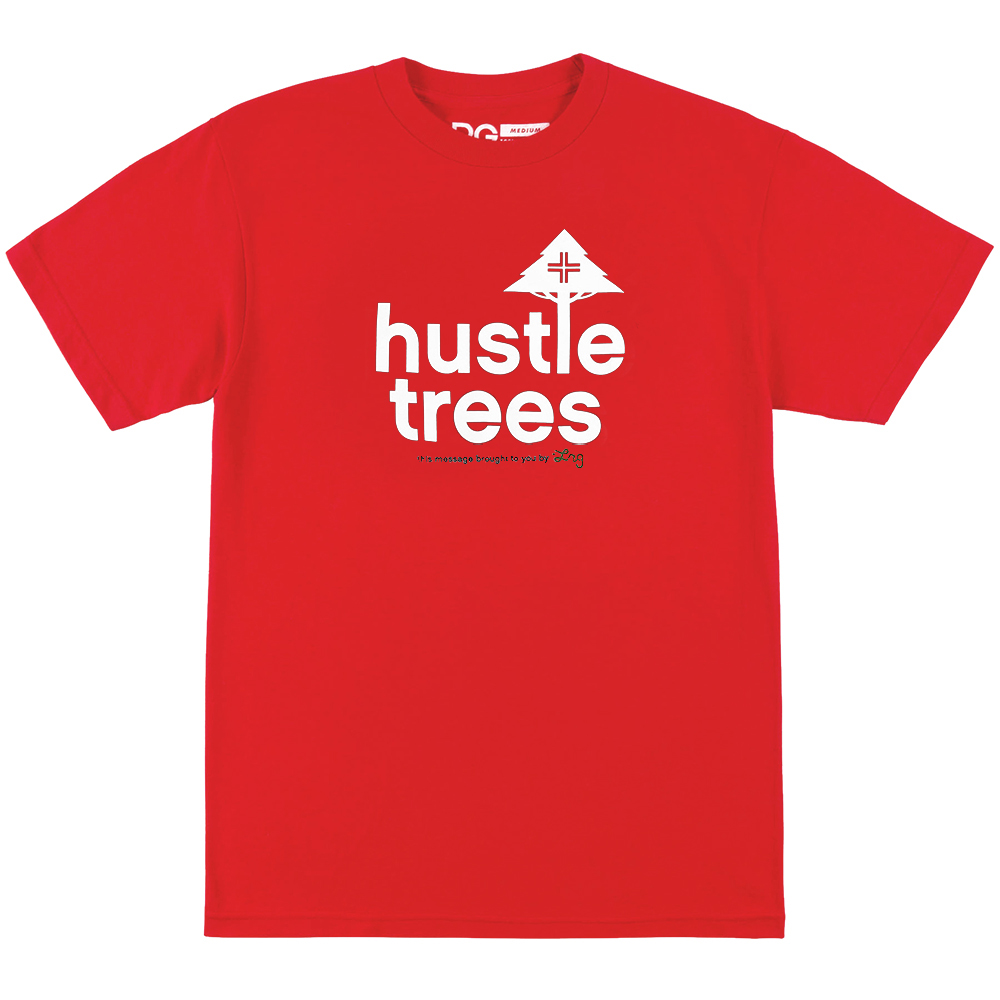 HUSTLE TREES TEE / RED/WHITE