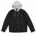 "TWO FOR ONE HOODED DENIM JACKET ""BLACK"""