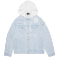 TWO FOR DENIM HOODED JACKET / BLEACH WASH