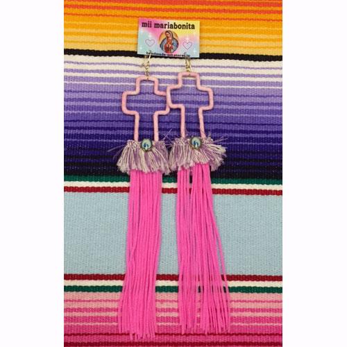 【mii mariabonita】OPEN CROSS MEXICAN PIERCE(LONGEST MEDAL)【ピアス】【メキシカン】【マリア】【グアダルーペ】