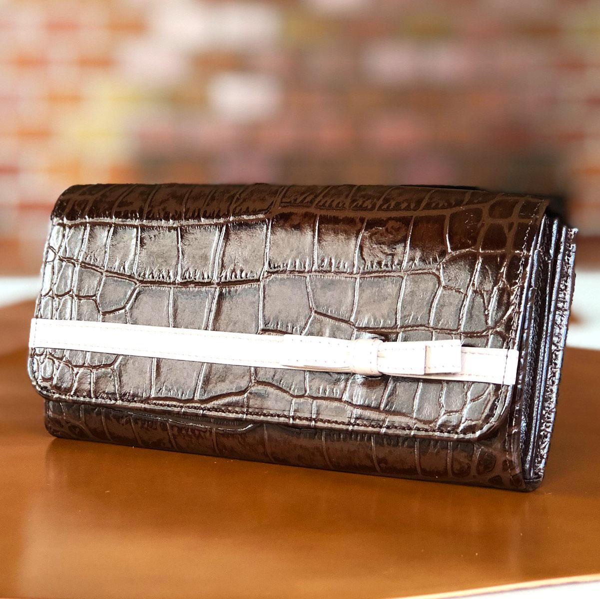 クロコリボン長財布