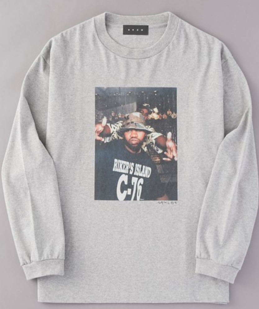 「SALE商品」 BROW ブロウ L/S TEE メンズフォトプリントロンT GRAY 杢グレイ Wu-Tang Clan 長袖 Jamil GS 両面プリント COTTON 綿