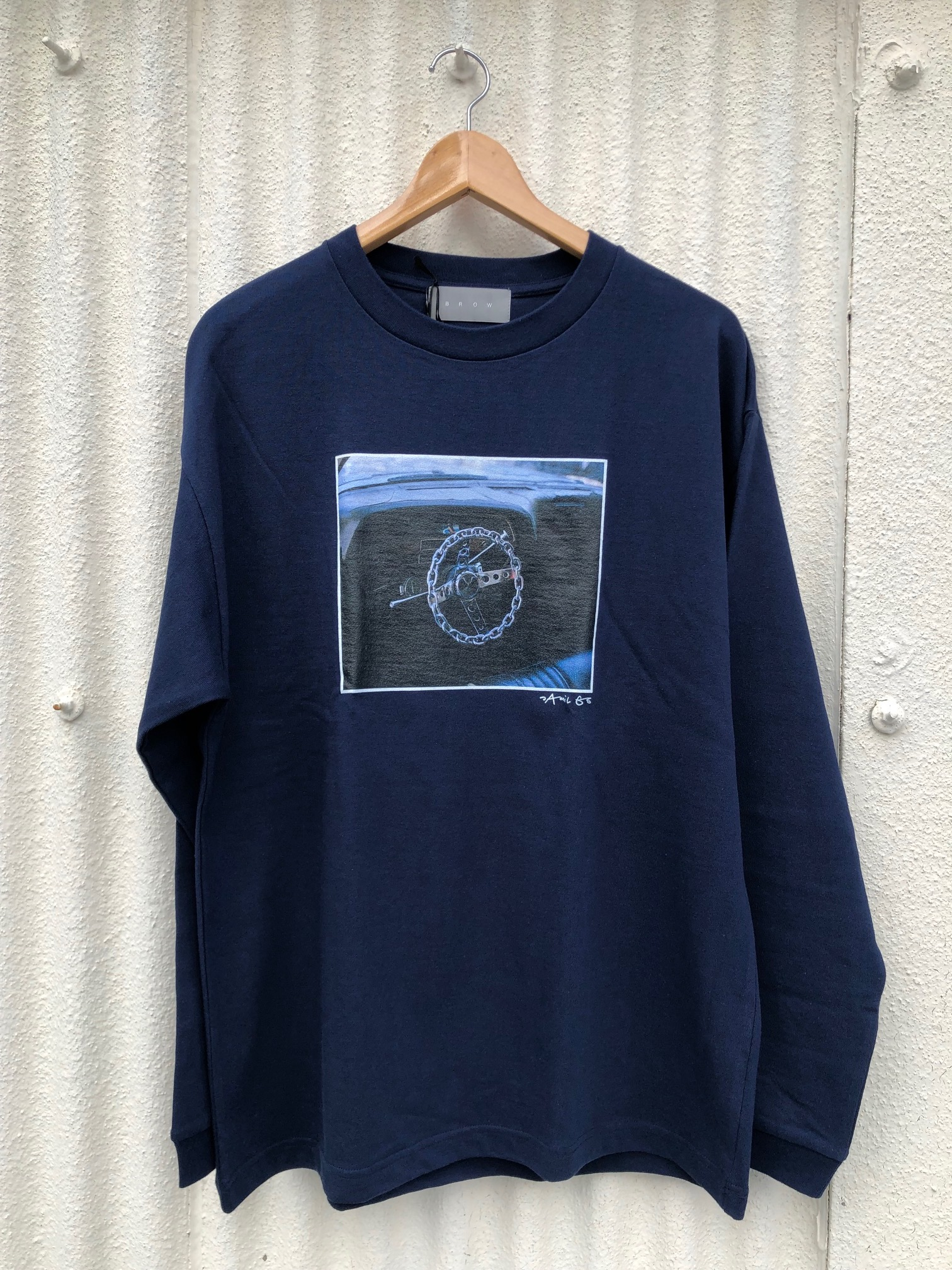 BROW ブロウ L/S TEE メンズフォトプリントロンT NAVY 紺 LA LAZA 長袖 Jamil GS 両面プリント COTTON 綿