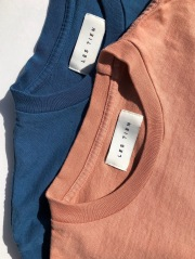 LES TIEN レスティエン CLASSIC LONG SLEEVE TEE ユニセックスヘヴィーウェイト長袖クルーネックティー COTTON 綿 EGGSHELL DUSTY CORAL 桃赤ピンク BLUE MARINE スレートブルー MADE IN LOS ANGELES アメリカ製 ロンティー HV-2003
