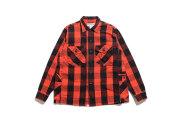 SASSAFRAS ササフラス GARDENER HALF メンズブロックチェックシャツジャケット RED 赤 BLACK 黒 バッファローチェック TWILL SF-181369 京都 送料無料