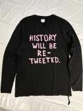 KSUBI スビ RETWEET LS TEE メンズロゴプリントメッセージロングスリーブティーシャツ 1000001092 長袖 BACK TO BLACK 黒 COTTON 綿 カットソー