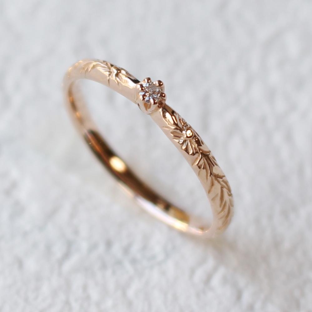 Luce-K14PGルーチェリング4月ダイヤモンド