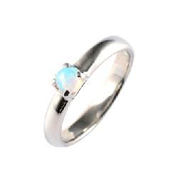 baby's ring - Pt1000 一連一石 - 10月 オパール