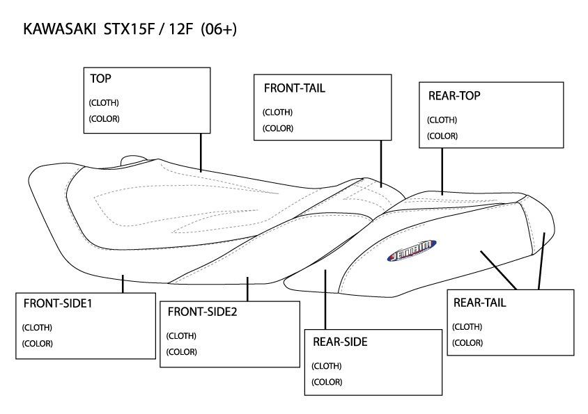 【JT-K15F101F】JET-TRIM シートカバー カワサキ STX-15F 2PC