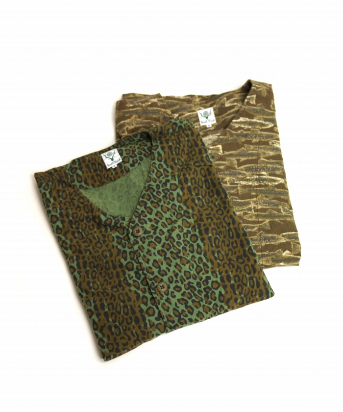 South2 West8/サウス2 ウエスト8 V Neck Army Shirt - Printed Flannel / Camouflage