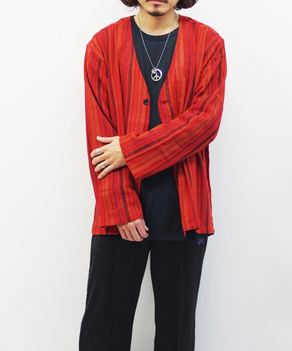 South2 West8/サウス2 ウエスト8 V Neck Army Shirt - Stripe Crepe (全2色)