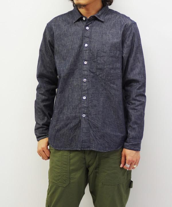 RINEN/リネン 6オンス ノットインディゴデニム レギュラーカラーシャツ