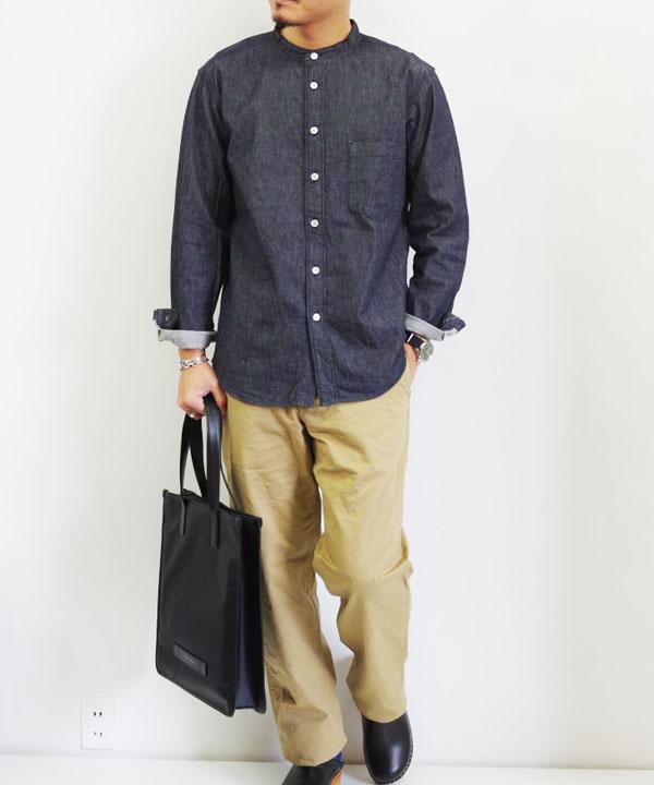 RINEN/リネン 6オンス ノットインディゴデニム スタンドカラーシャツ