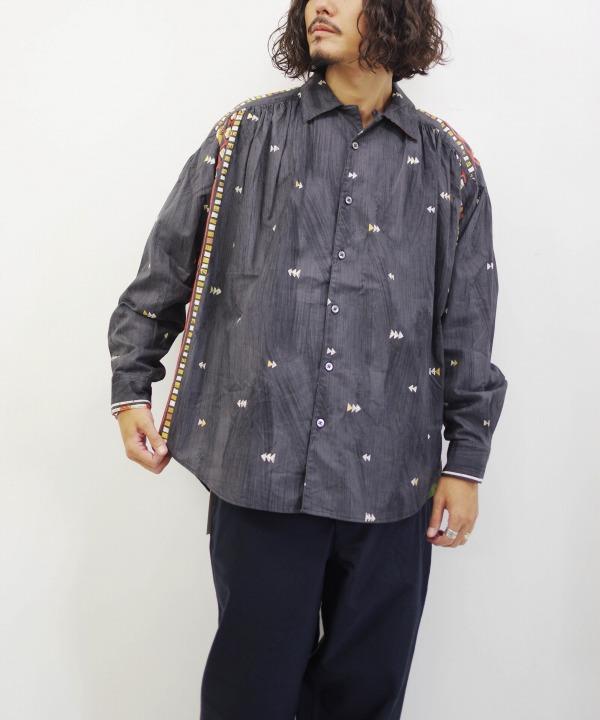 エーアイイー/AiE   Painter Shirt - Black Cotton Abstract Stripe