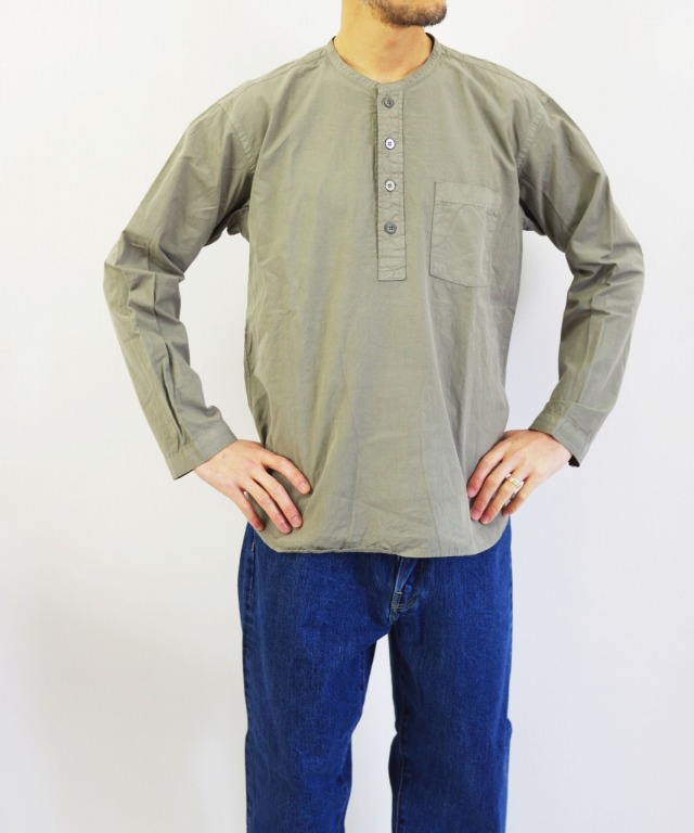 RINEN/リネン 80/2 ブロードプルオーバーバンドカラーシャツ (全2色)