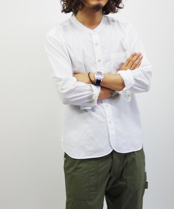 RINEN/リネン 100/2 ブロード スタンドカラーシャツ - オフ 【MAPSの定番】
