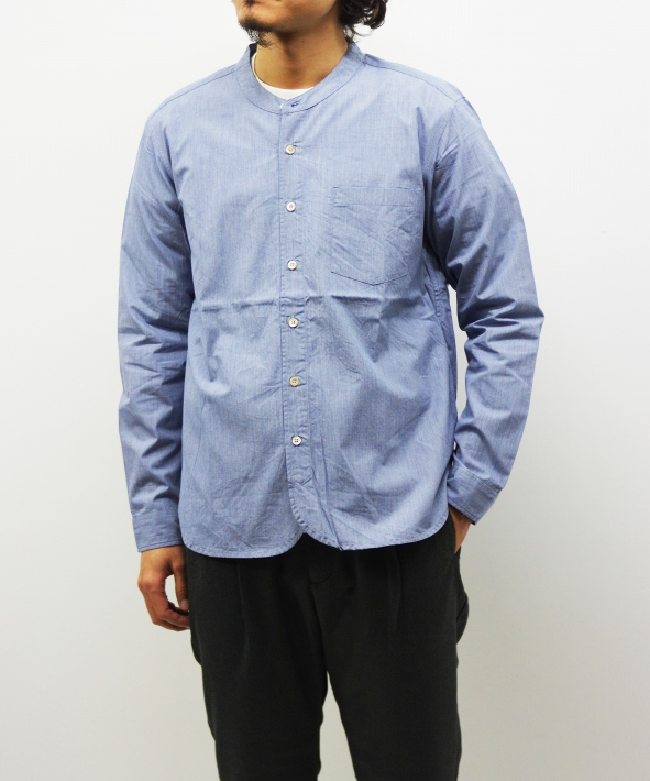 RINEN/リネン 100/2 ブロード スタンドカラーシャツ - ヘアライン 【MAPSの定番】