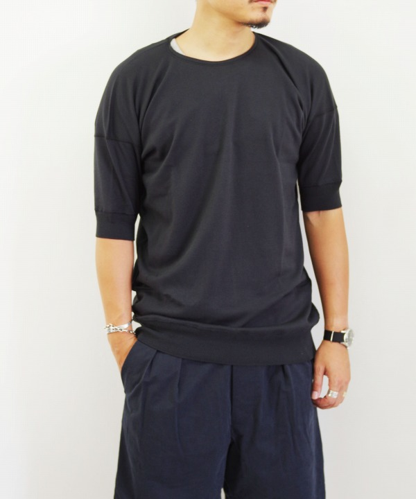 Olde Homesteader/オールドホームステッダー CREW NECK SHORT SLEEVE - Interlock ブラック 【MAPSの定番】