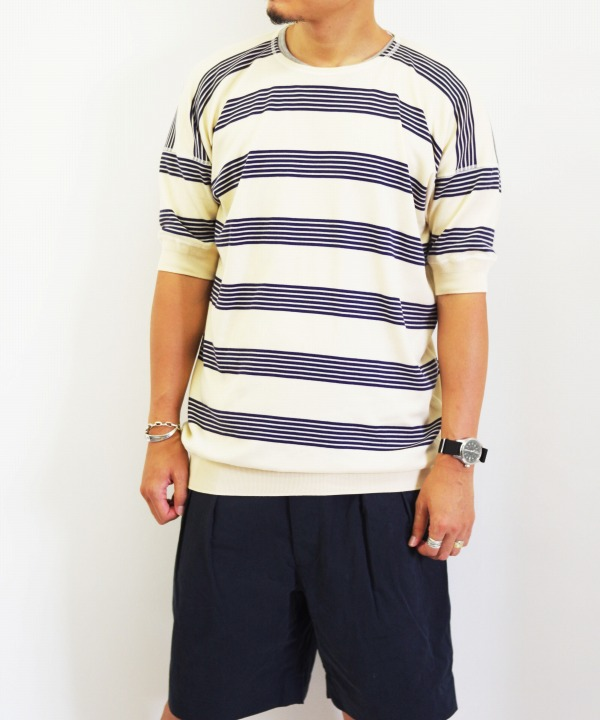 Olde Homesteader/オールドホームステッダー CREW NECK SHORT SLEEVE - Interlock キナリ x ネイビー