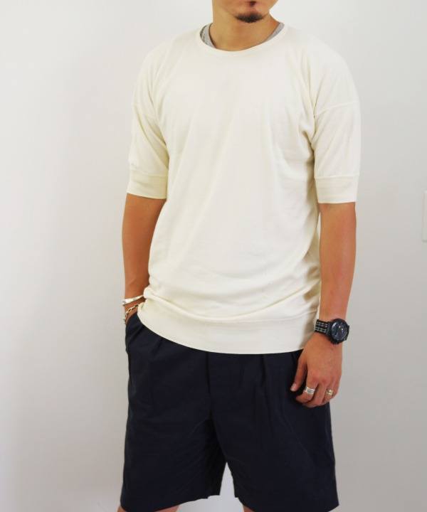 Olde Homesteader/オールドホームステッダー CREW NECK SHORT SLEEVE - Interlock アイボリー 【MAPSの定番】