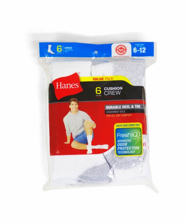 Hanes/ヘインズ CUSHION CREW SOCKS 6-PACK