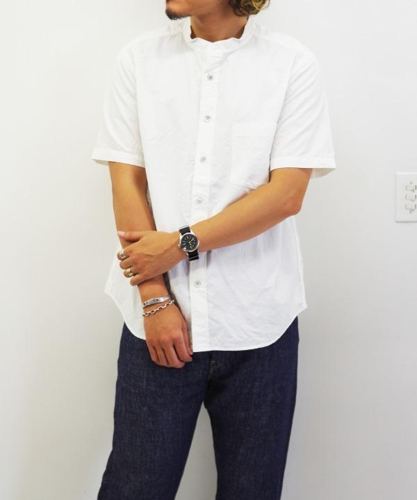 RINEN/リネン 80/2 ダウンプルーフ半袖スタンドカラーシャツ(全3色)