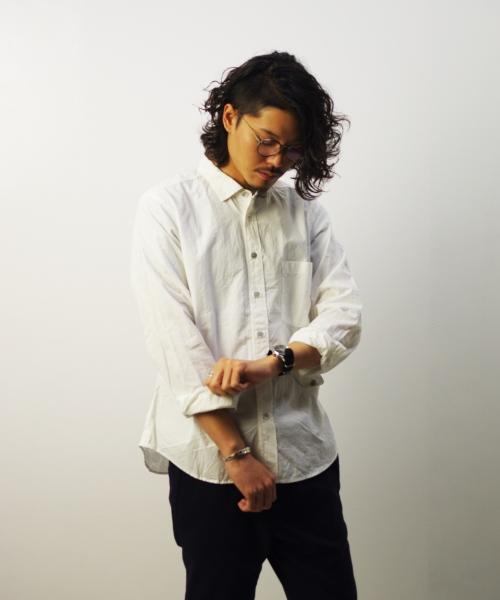 RINEN/リネン 80/2 ダウンプルーフ レギュラーカラーシャツ - シロ