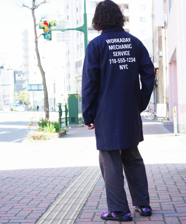 Engineered Garments Workaday/ワーカデイ Shop Coat printed-Reversed Sateen